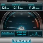 速度はこんな感じです。無線LANと同じくらい???